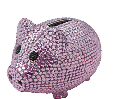 Primary image for Purple Crystal Pig Metal Coin Piggy Bank with Swarovski Crystals