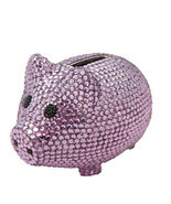Purple Crystal Pig Metal Coin Piggy Bank with Swarovski Crystals - $48.50