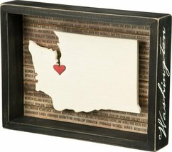 Primitives by Kathy Washington State Shape Box Sign Black Distressed Red Heart - $17.82