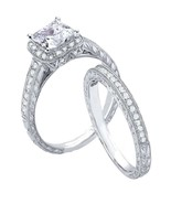 2ct Vintage Style Simulated Diamond Engagement Ring Set - $39.99