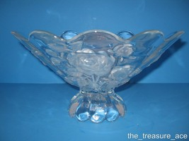 "GORGEOUS~Crystal Clear Studios~12"" Footed ROUND BOWL~Embossed Frosted Ro... - $38.88"