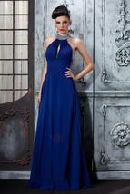 Evening Dress Blue Sexy Backless Chiffon Long Evening Dresses Prom Dress - $169.00
