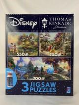 3 Disney Thomas Kinkade Jigsaw Puzzles Mickey Snow White Cinderella with Glue - $46.44