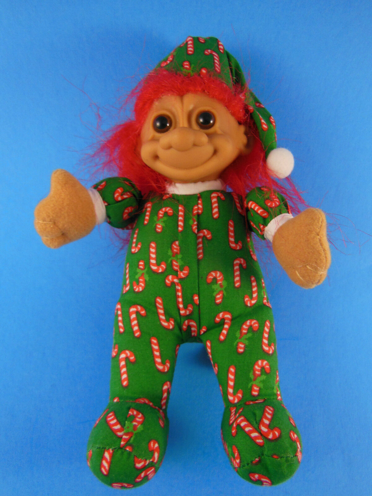 "Primary image for Troll by Russ Berrie 7"" Plush Christmas Doll with Candy Cane Fabric PJ's"