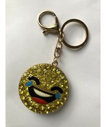 Laughing Smiley Emoji Keychain with Crystals Charm  - $8.80