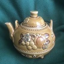 Vintage Ceramic Teapot, Metal Handle, Japan, Brown with Flowers & Fruit  - $14.80