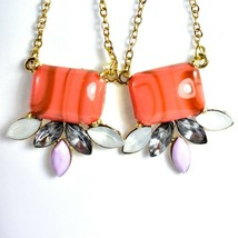"Mode Dark Pink Peach Shourouk Style Look Lucite 2.75"" Drop Dangle Post Earrings image 2"