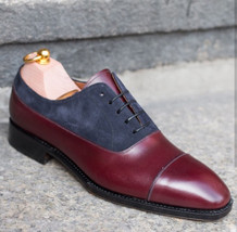 Handmade Burgundy Leather gray Suede Two Tone Oxford Shoes image 4