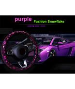 Car Pink Shiny Snowflake Steering Wheel Cover Anti-slip Cute Car Styling... - $18.68