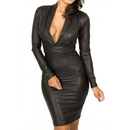 WOMEN LEATHER DRESS GENUINE LAMBSKIN PURE LEATHER SEXY COCKTAIL PARTY DRESS-153