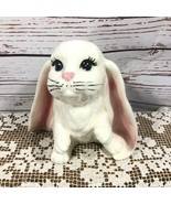 "Ceramic Bunny Rabbit Figurine Long Floppy Ears 6"" Dated 1990 Signed - $29.69"
