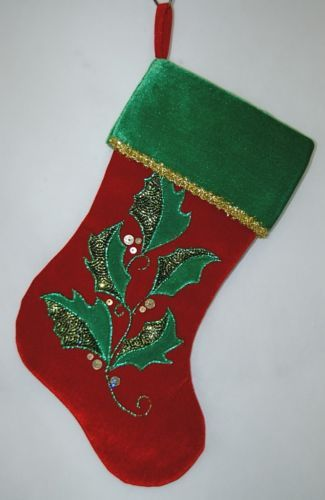 Sterling 220100181 Red Green Holly Leaves 16 Inch Christmas Stocking
