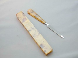 Early Marbled Plastic Bakelite? Handled Nail File In Marbled Case Mid Ce... - $29.99