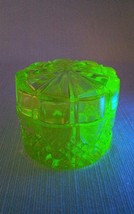 Vintage Yellow Uranium Vaseline Glass Covered Vanity Box Signed Belique - $209.99