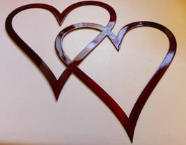 """Double Hearts Metal Wall Accents Metallic Red 12"""" tall x 13 1/2"""" wide - $15.83"""