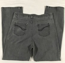 Denim & Co Jeans Women Size 14 Straight Leg Tummy Panel Gray - $24.99