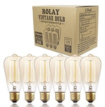 6 Pack, Rolay 25 Watt Vintage Edison Light Bulb with Squirrel Cage Filament, 110