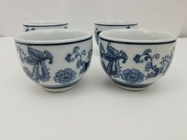 Pier 1 Imports Porcelain Tea Cups Sake Set of 4 White Blue Floral Dish Safe image 8