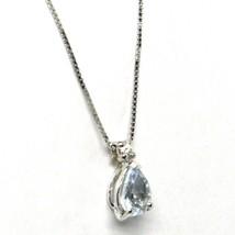 18K WHITE GOLD NECKLACE AQUAMARINE 0.35 DROP CUT & DIAMOND, PENDANT & CHAIN image 2