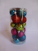 20 Multi Color Miniature Shatterproof Round Plain and Glitter Ornaments New - $7.91