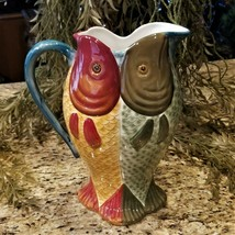 New with Tags Dept 56 Hand Painted Double Fish Serving Pitcher Retired 1... - $49.95
