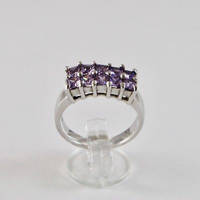 925 SILVER RING RHODIUM WITH SQUARE WITH CRYSTALS PURPLE CUT SQUARE