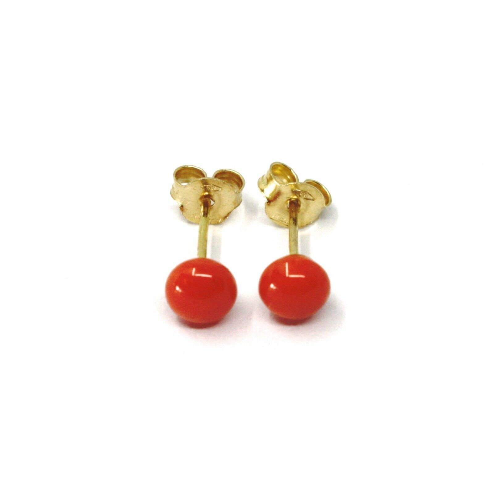 18K YELLOW GOLD HALF SPHERE RED CORAL BUTTON EARRINGS, MINI 4 MM, 0.16 INCHES