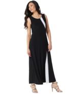 Dennis Basso 6 Regular Sleeveless Caviar Crepe Maxi Dress Black White  - $19.39