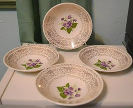 Lot 4 LIMOGES USA 22 KT GOLD TRIM BLUE purple flowers white fruit bowls - $24.28