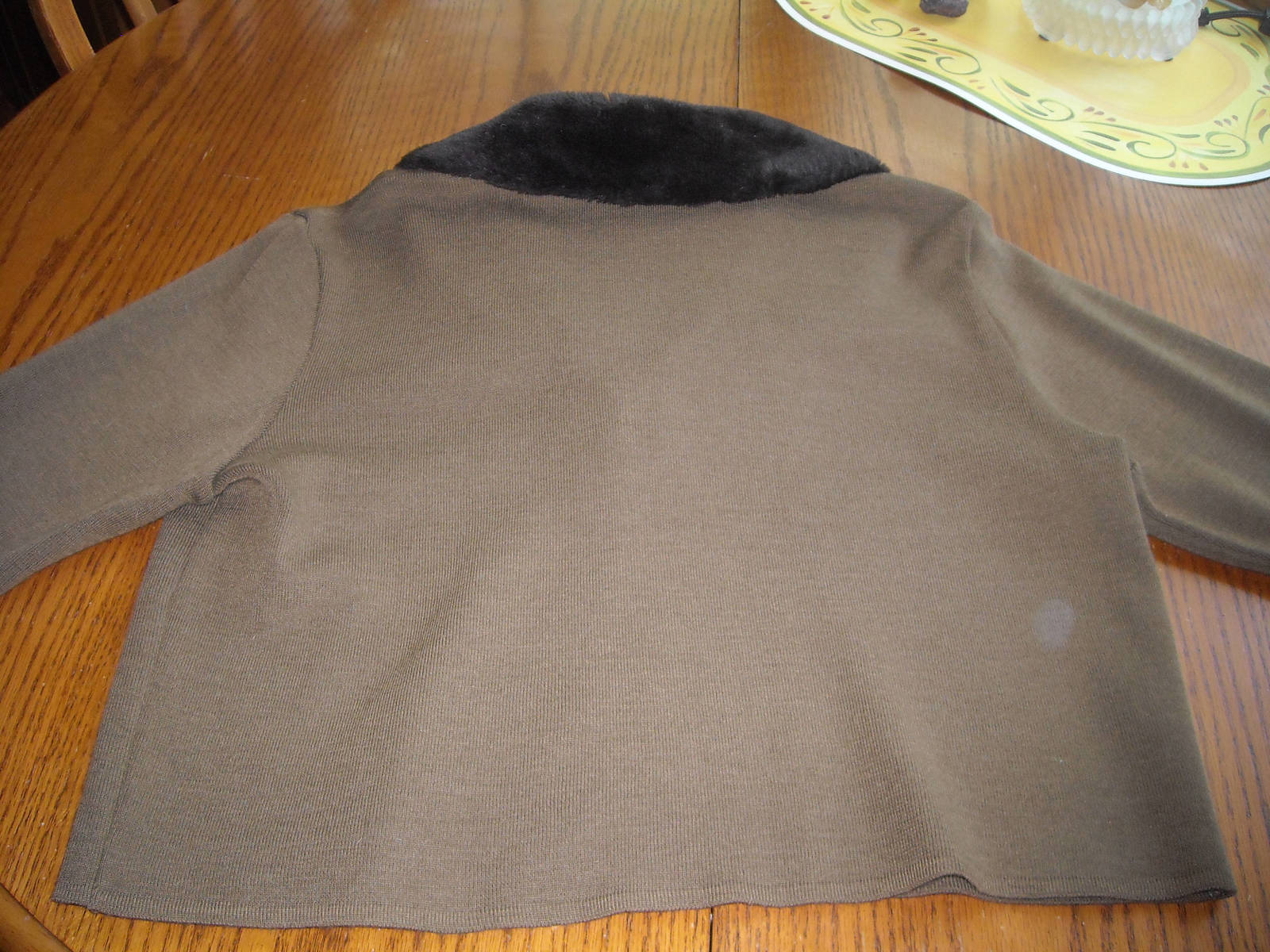 Women LENNIE Nina Leonard Cropped Sweater With Faux Fur Collar Brown (M) Acrylic image 4