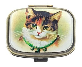 Value Arts Victorian Cat Pill Box, Brass and Glass, 2.25 Inches Long