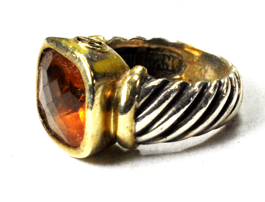 Primary image for Sterling 14k David Yurman Gold Citrine Striped Band 15mm Size 5.5 Noblesse Ring