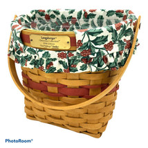 1998 LONGABERGER Glad Tidings Christmas Basket Combo OTE Liner Protector... - $30.00