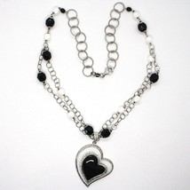 Collar Plata 925 , Ónix Negro, Ágata Blanca, Corazón Colgante, Cadena Dos Filas image 2