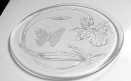 """LE Smith Crystal Iris & Butterfly Frosted/Clear Glass 13"""" Party Plate Pl... - $9.89"""