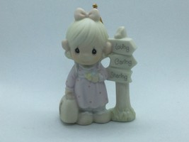 PRECIOUS MOMENTS #PM040 MEMBERS ONLY 1993 CHRISTMAS ORNAMENT, GIRL AT CR... - $13.75