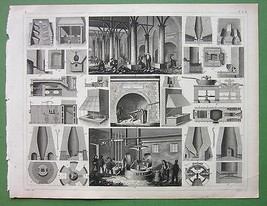 FOUNDRIES Metal Milling Furnaces - 1844 SUPERB Antique Print - $16.65