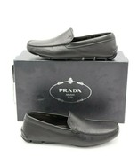 NIB PRADA Mens Black Leather Moc-toe Venetian Moccasin Drivers Loafers 8... - $295.00