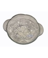 KIG Malaysia Clear Crystal Embossed Roses Buds Leaves Large Serving Fruit Bowl  - $19.79