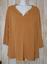 Womens Tan Susan Graver Essentials 3/4 Sleeve Shirt Size Medium excellent - $7.91