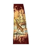 Vintage Hand Painted Silk Tie Deer Buck Hunting Burgundy Maroon Art Deco... - $39.77
