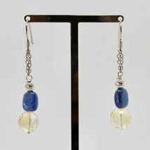 Silver Earrings 925 Rhodium Hanging Quartz Citrine Faceted and Kyanite image 2