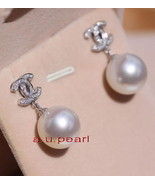 CC Top 14K GOLD 12-13MM NATURAL real round SOUTH SEA white PEARL EARRINGS - $824.35