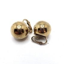 Vintage Signed Bergere Earrings Gold Tone Ball Designer Clip Earrings - $13.50