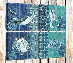 Canvas Prints Sea Turtle Bathroom Wall Decor Seahorse Octopus Marine Life Teal W
