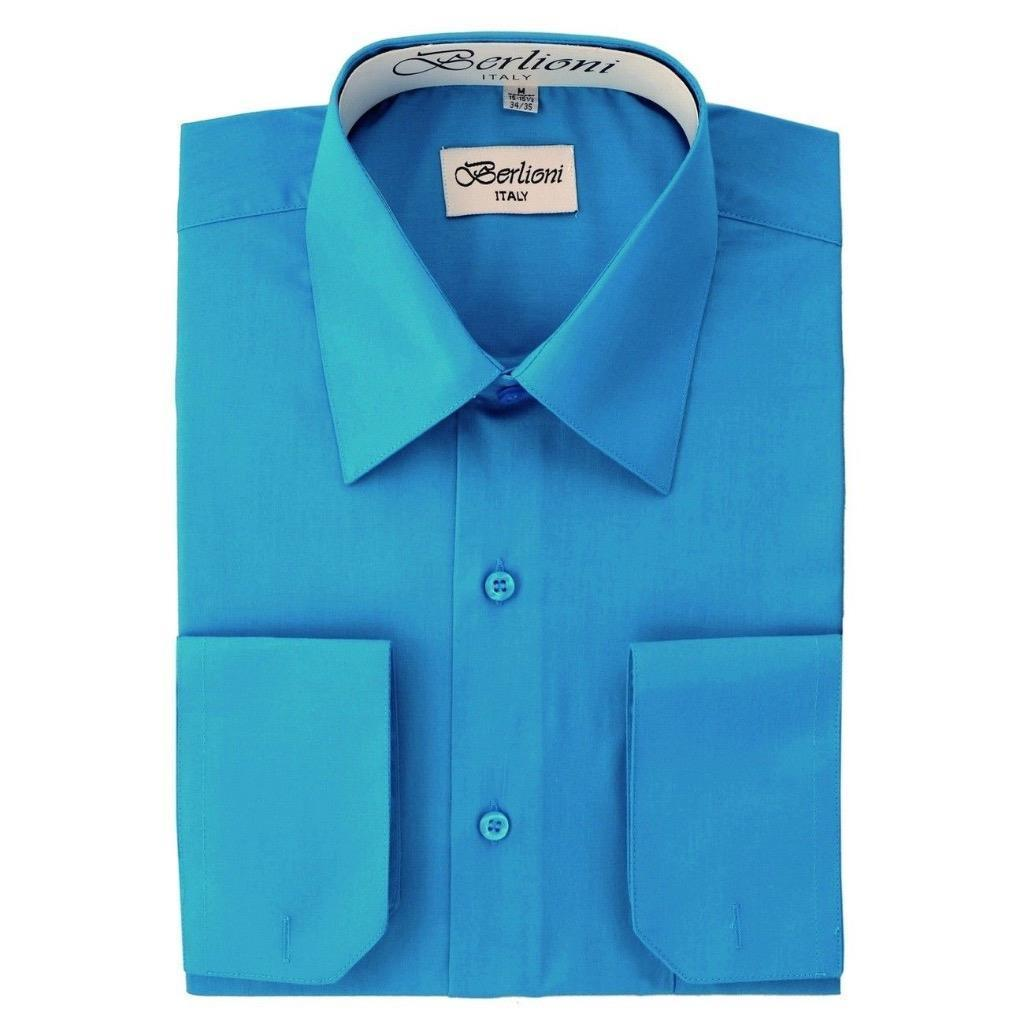 BERLIONI ITALY MEN'S PREMIUM FRENCH CONVERTIBLE CUFF SOLID DRESS SHIRT TURQUOISE