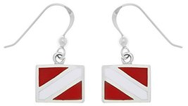 Jewelry Trends Sterling Silver Scuba Diver Down Flag Red Enameled Dangle... - $29.75