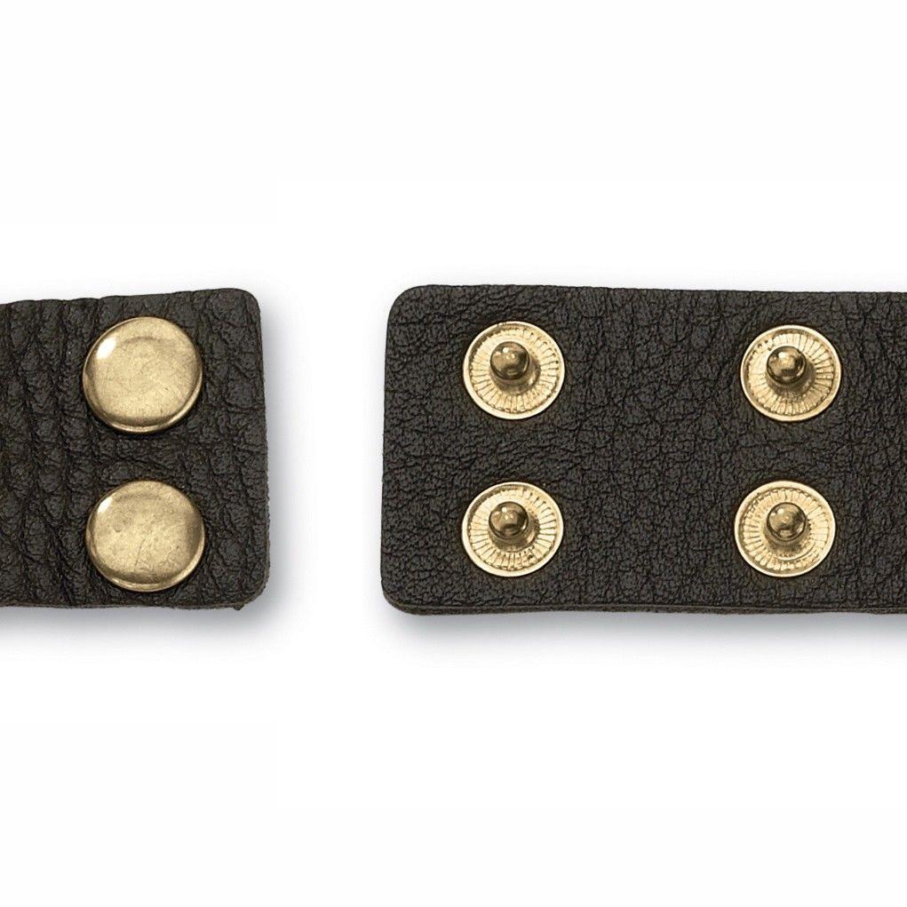 PalmBeach Jewelry Brown Genuine Leather Rivet Cuff Bracelet in Yellow Gold Tone