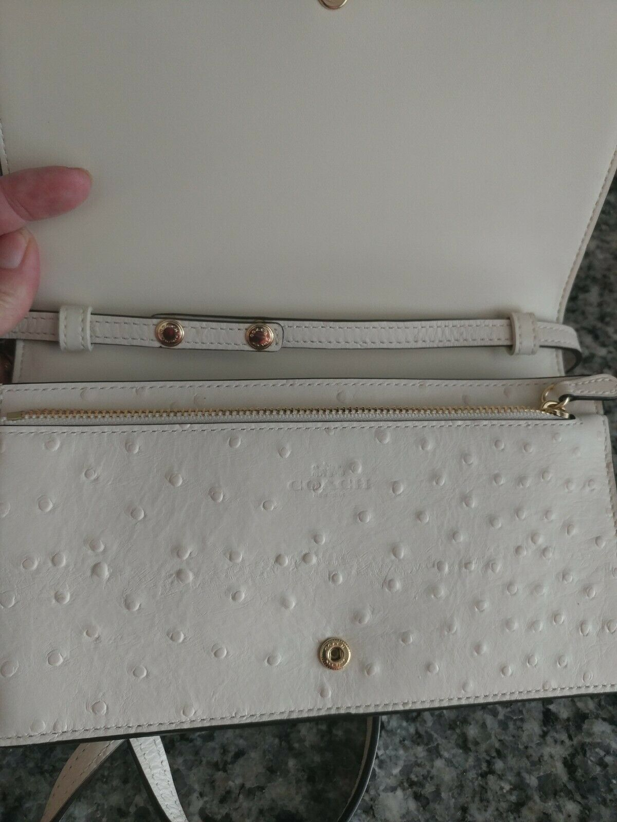 COACH Hayden Foldover Crossbody Clutch Bag Chalk/Gold Ostrich Leather F67595 jm