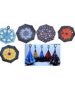 Inverted Upside Down Umbrella Rain C Handle Reverse Opening 2 Layer Insi... - $16.99